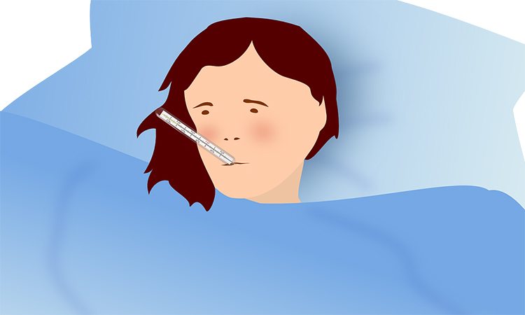 Illustration of person in bed with thermometer in mouth